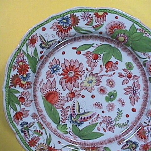 c1820 hand painted Mason's Patent Ironstone China Plate with Butterflies, Flowers and Gold Luster