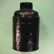 Late 1800s Black Lacquered Tin Tea Canister with Po Ku Depictions (the 100 Antiques)