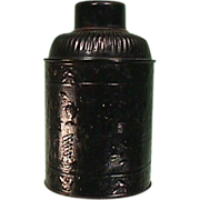 Late 1800s Black Lacquered Tin Tea Canister with Po Ku Depictions known as 100 Antiques