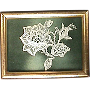 Hand made Lace Flower in Gilded Wood Frame from early 1900s or older