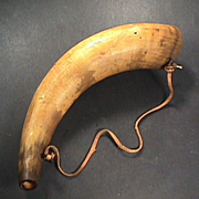 mid 1800s American Powder Horn with original wrought iron hanging hooks
