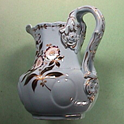 c1835 Elegant molded and Gilded Stoneware Pitcher by Ridgway in PERFECT condition!