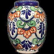 Colorful Talavera style maiolica tin glazed Vase signed YU (Ysauro Uriarte, Puebla, Mexico)
