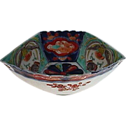 c1885 Japanese Imari Porcelain Brocade-style Fan-shaped Dish from Meiji Period
