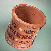 Mid-1800s Salt Glaze Stoneware decorative Tobacco Jar labeled TABAC