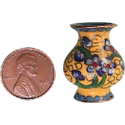 Miniature 1 Inch tall Cloisonne Vase with Flowers and Cloud Motif (doll size scale 1:10)