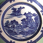 c1795 Early Spode Pearlware Plate Printed in the Boy on Buffalo Pattern (Spode factory tally mark)