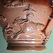 c1790s Mortlake Salt Glaze Stoneware Jug with Punch Party Slab, Hunting Hounds, Buck and Lady Horse Rider