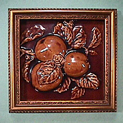c1890 High Relief Fruit Tile in Frame from United States Encaustic Tile Works, Indianapolis (large 6 x 6 inch tile)