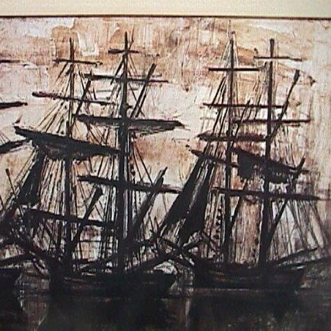 Silhouettes of Tall Ships in Harbor at sunrise/sunset by Bernard Buffet (1968 exhibition reduced copy)
