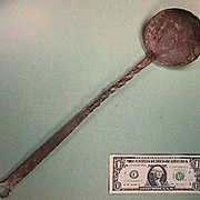 Early 1800s (or older) Wrought Iron Ladle (Spoon) with Decorative Twists and Coiled Hanging Loop