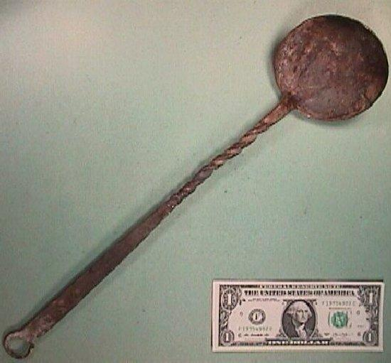 Early 1800s (or older) Wrought Iron Ladle (Spoon) with Decorative Twists and Curled Hanging Tang