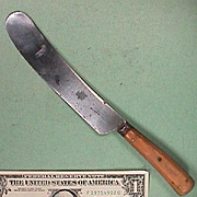 c1845 Sheffield Forged Steel Knife stamped IBBOTSON - GLOBE WORKS (Ox-Bone Handle)