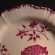 c1774 Wedgwood Creamware Shell-edge Plate with Botanical-style painting (early impressed mark)