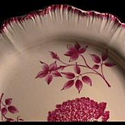 c1774 Wedgwood Creamware Shell-edge Plate with Botanical-style painting (early mark)