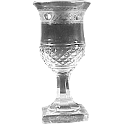 c1835 Scottish Thistle shaped hand blown small Wine Glass with Cut and Engraved Decoration