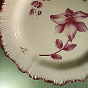 c1774 Wedgwood Creamware Crimson Red Shell-edge Plate with Botanical-Motif (early impressed mark)