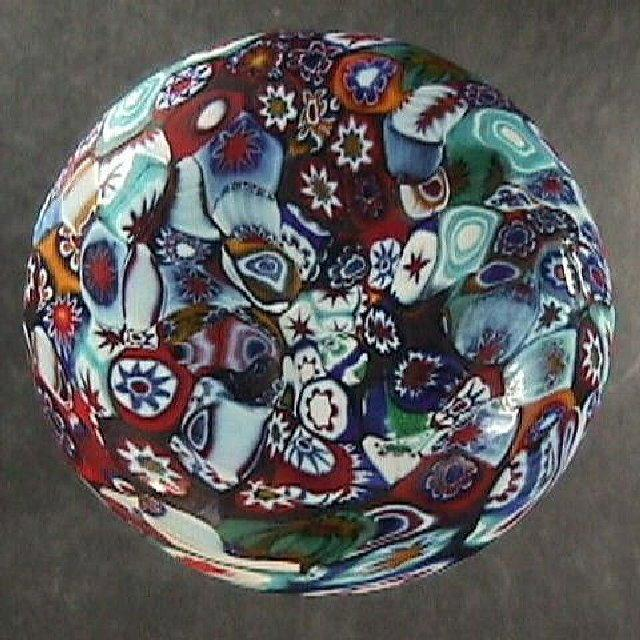 Satin Finish Italian Millefiori Glass Decanter or Bottle Stopper (early 20th C, Murano, Fratelli Toso or)