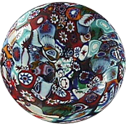 Italian Satin Finish Millefiori Glass Decanter or Bottle Stopper (early 20th C)