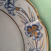 c1815-20 Hand Painted Mason's Patent Ironstone Plate with Gilded Carnations and Molded Paneled Rim