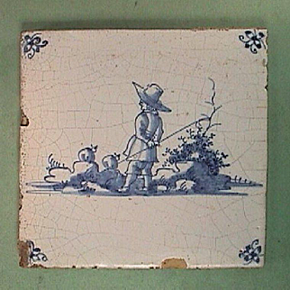 c1730 Blue Painted Delft Tin Glazed Tile of Shepard with Crook watching Sheep