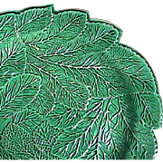 c1815 emerald Green Glazed Creamware Leaf Plate impressed Brameld (Swinton)