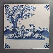 c1740 Blue Painted Delft Tile of Shepard on bended knee with Lady Friend