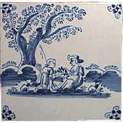 c1740 Blue Painted Delft Tin Glazed Tile with Shepard on bended knee and Lady Friend (likely English)
