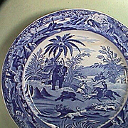 c1835 Late Pearlware Blue Printed Plate with Bear Hunting Scene in India (10 inches diam.)