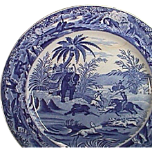 c1835 Late Pearlware Blue Printed Plate with Bear Hunting Scene in India (10 inch diam.)