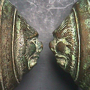 c1750 (or older) Cast Bronze Grotesques Door Bosses on Wrought Iron Spikes (2 available)