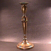 c1790 Tall, vertically seamed Brass Candlestick with Urn shaped candle cup (11+ inches tall)