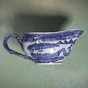 c1785 Chinese Export Porcelain Blue and White Sauce Boat painted in Pearl River House Pattern