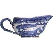 c1785 Chinese Export Porcelain Blue and White Saucer Boat painted in Pearl River House Pattern