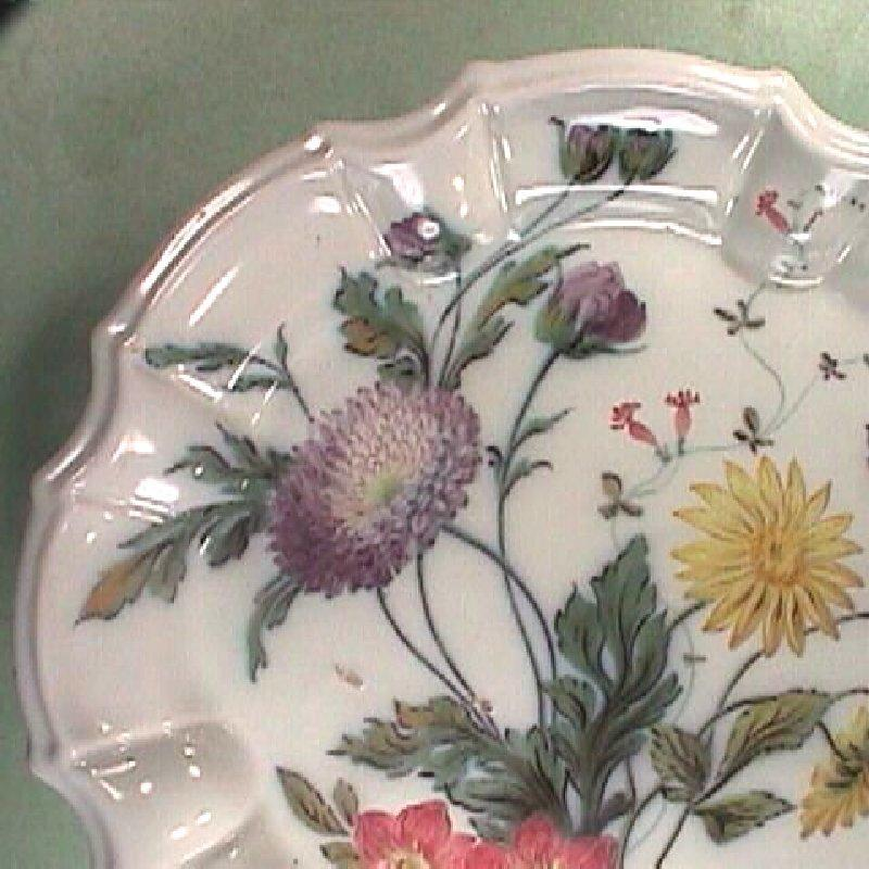 c1835 Italian hand painted Fayence Tin Glaze Faience Plate with molded Baroque style rim