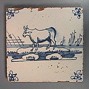 c1750 Dutch Delft Tin Glaze Tile with Cow Grazing by the Sea
