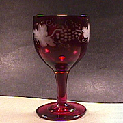 c1845 Hand Blown Ruby Red Wheel Engraved Fruiting Vine Full Size Wine Glass