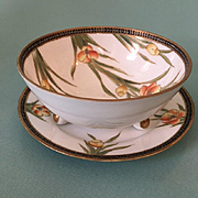 c1905 Noritake Porcelain Bowl and Underplate with Encrusted Coralene Beading (M in Wreath)