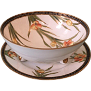 c1905 Noritake (M in Wreath) Porcelain Bowl and Underplate with Encrusted Coralene Beading