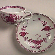 c1785 Meissen Puce Painted Banded Hedge Pattern Porcelain Teacup with Puce Saucer (pressnommers on both)