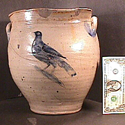 c1805 American Salt Glaze Stoneware Large Ovoid Jar or Pot with incised Bird (obv) and Flower (rev) SCARCE
