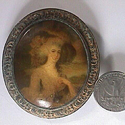 c1820 Antique Miniature Portrait of Lady in Landscape painted on Copper (nonfunctioning Brooch)