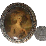 c1820 Antique Brooch as Miniature Portrait of Lady in Landscape painted on Copper