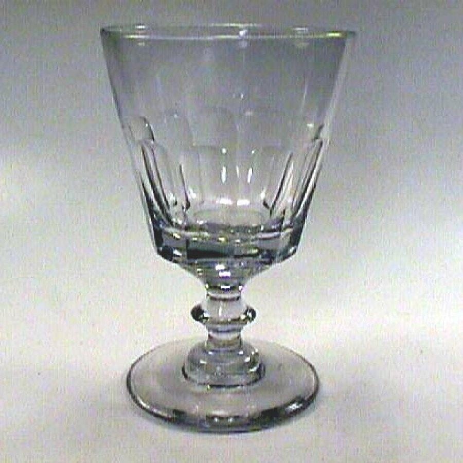 c1815 Hand Blown Slice Cut Bucket Bowl Flint Glass Rummer or Goblet with Button Stem and Pontil (Pittsburgh or . . .)