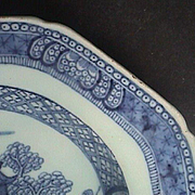 c1780 Chinese Nanking Blue and White Riverscape Export Porcelain Platter