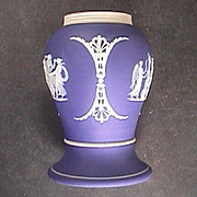 c1915 Dark Blue Dipped Wedgwood Jasper Stoneware Baluster Vase or Shaker