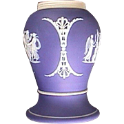 c1915 Dark Blue Dipped Wedgwood Jasper Stoneware Baluster Vase or Shaker with Applied Classical Figures