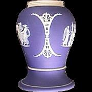 c1915 Dark Blue Dipped Wedgwood Jasper Stoneware Baluster Vase or Shaker