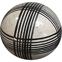 c1865 Victorian Large Pottery Carpet Ball or Bowl with Black Lines (3 inches diam)
