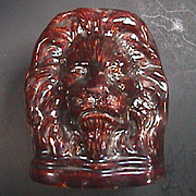 c1825 Staffordshire Rockingham Treacle Glaze Lion Window Sash Support or Stop